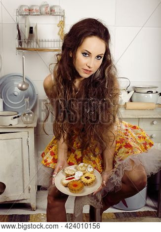 Crazy Real Woman Housewife On Kitchen, Eating Perfoming, Bizare Girl