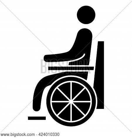 Handicapped Patient Icon. Wheelchair Person Symbol. Disabled Man Glyph Vector Icon. Can Be Used As A
