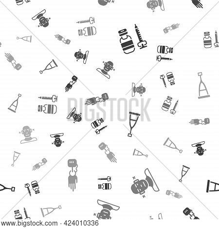 Set Syringe, Deaf, Crutch Or Crutches And Prosthesis Hand On Seamless Pattern. Vector