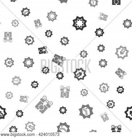 Set Octagonal Star, Kaaba Mosque, Muslim Mosque And Gift Box On Seamless Pattern. Vector