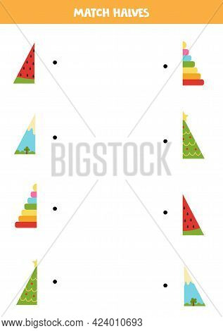 Match Halves Of Triangular Objects. Logical Game For Kids.
