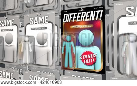 Different Vs Same Unique Special Person Stands Out from Crowd 3d Illustration