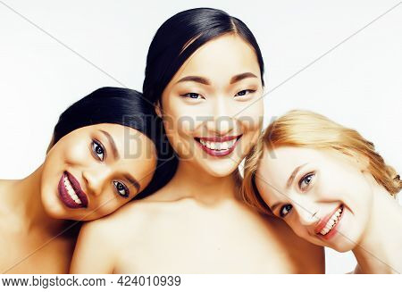 Different Nation Woman: African-american, Caucasian, Asian Together Isolated On White Background Hap