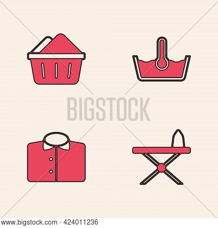 Set Iron And Ironing Board, Basin With Soap Suds, Temperature Wash And T-shirt Icon. Vector