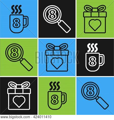 Set Line Coffee Cup With 8 March, Gift Box And Heart And Search 8 March Icon. Vector