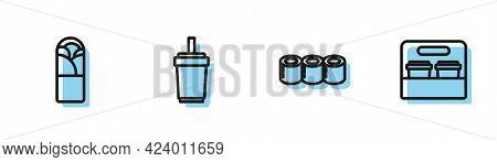 Set Line Sushi, Doner Kebab, Paper Glass With Straw And Coffee Cup To Go Icon. Vector