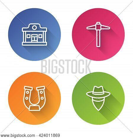 Set Line Wild West Saloon, Pickaxe, Horseshoe And Cowboy. Color Circle Button. Vector
