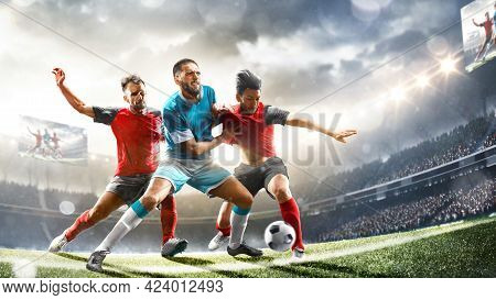 Profeccional Soccer Players In Action On The Grand Stadium Background