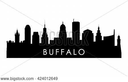 Buffalo Skyline Silhouette. Black Buffalo City Design Isolated On White Background.