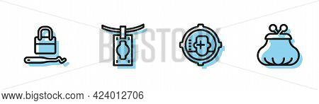 Set Line Headshot, Lock Picks For Lock Picking, Money Laundering And Wallet Icon. Vector