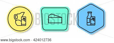 Set Line Milk Jug Or Pitcher And Glass, Cheese And Bottle Milk. Colored Shapes. Vector