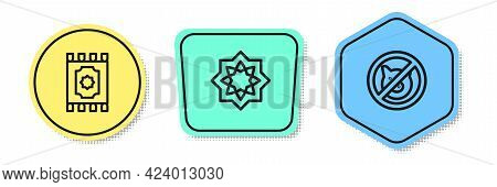 Set Line Traditional Carpet, Octagonal Star And No Pig. Colored Shapes. Vector