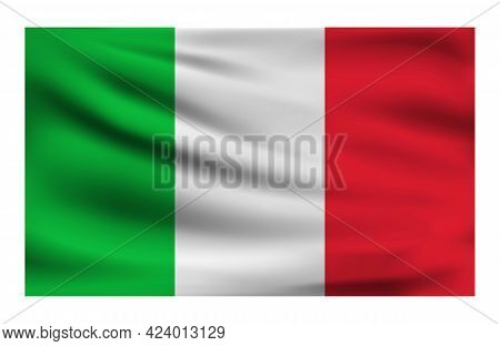 Realistic National Flag Of Italy. Current State Flag Made Of Fabric. Vector Illustration Of Lying Wa