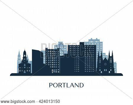 Portland, Maine Skyline, Monochrome Silhouette. Vector Illustration.