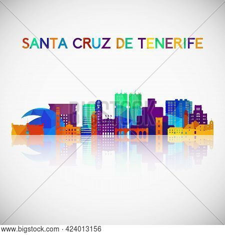 Santa Cruz De Tenerife Skyline Silhouette In Colorful Geometric Style. Symbol For Your Design. Vecto