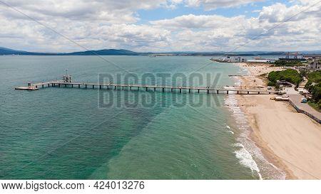 Beautiful Aerial Black Sea Seascape Of The Burgas Beach And Burgas Bay, Bulgaria.