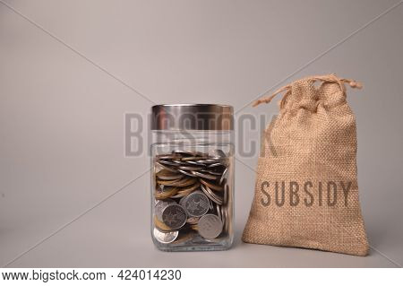 Stack Of Coins In A Glass Jar And Money Bag With Text Subsidy.