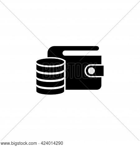 Wallet And Coins, Purse With Money. Flat Vector Icon Illustration. Simple Black Symbol On White Back