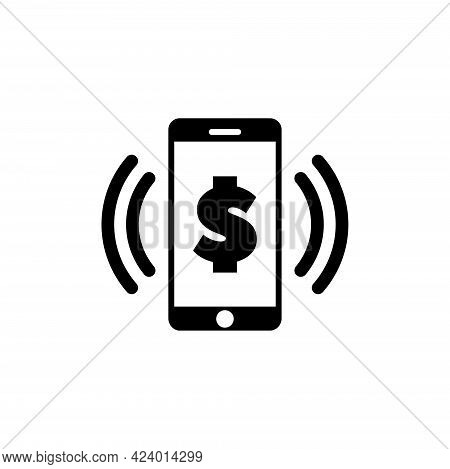 Mobile Banking, Payment With Smartphone. Flat Vector Icon Illustration. Simple Black Symbol On White