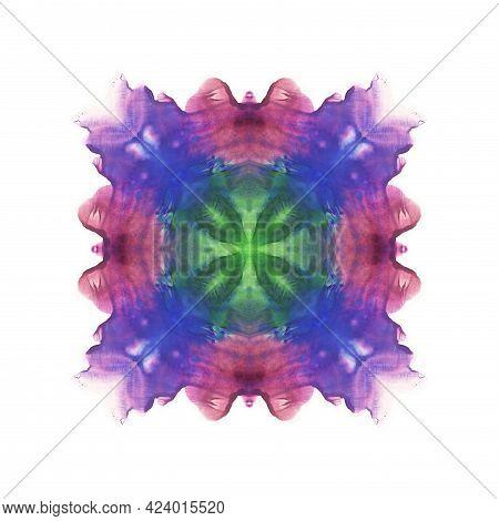 Kaleidoscope. Flower. Blue, Violet, Purple, Pink And Green Paint Blotch. Abstract Symmetric Watercol