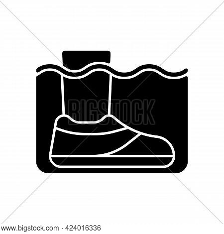 Water Shoes Black Glyph Icon. Walking In Wet, Rocky Environments. Protecting Feet From Hot Surfaces,