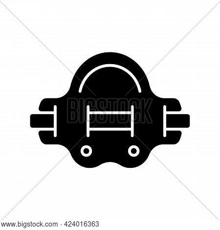 Aqua Jogger Black Glyph Icon. Aquatic Fitness. Water Jogging In Swimming Pool. Elastic Belt For Abdo