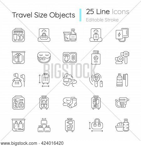 Travel Size Objects Linear Icons Set. Portable Stuff For Flight Passenger. Essential Things For Tour