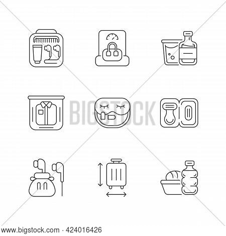 Essential Tourist Pack For Travel Linear Icons Set. Packing Clothes And Compact Thing. Mini Size Obj