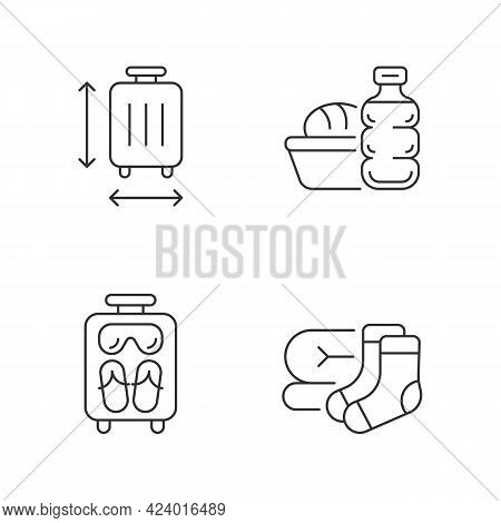 Airplane Travel Essential Pack Linear Icons Set. Suitcase Size. Meal During Flight. Mini Size Object