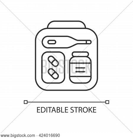 Mini First Aid Kit Linear Icon. Emergency Bag With Medication For Trip. Essential For Tourist. Thin