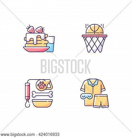 Daily Student Routine Rgb Color Icons Set. Breakfast Pancakes. Basketball Club. Pet Care. Backpack F