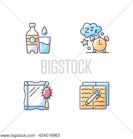 Daily Schedule And Routine Rgb Color Icons Set. Watter Bottle. Sleep Time. Alarm Clock. Mirror And B