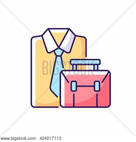 Formal Clothing And Briefcase Rgb Color Icon. Professional Worker Outfit And Bag. White Collar Emplo