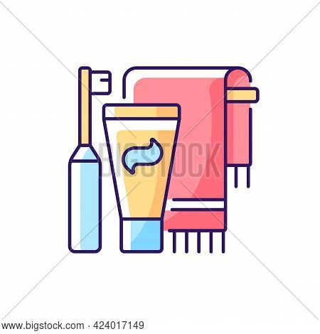 Brushing Teeth Rgb Color Icon. Toothpaste And Paste In Bathroom. Towel For Personal Cleanliness And