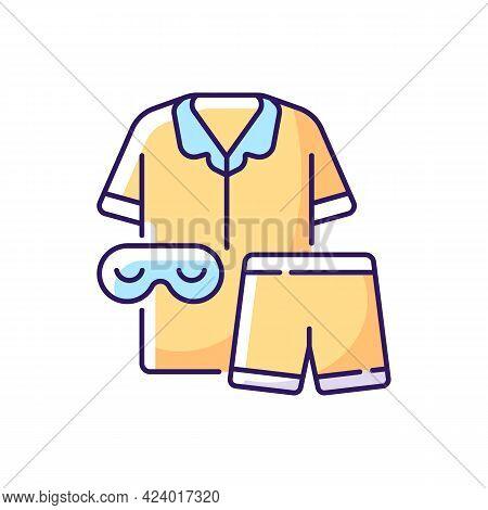Pajamas Rgb Color Icon. Unisex Pyjamas And Eyewear. Pants And Shirt For Sleep. Bedroom Clothing For