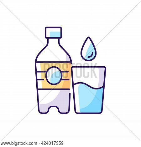Water Rgb Color Icon. Hydration For Fitness. Mineral Aqua. Fluids To Avoid Thirst. Water Bottle To P