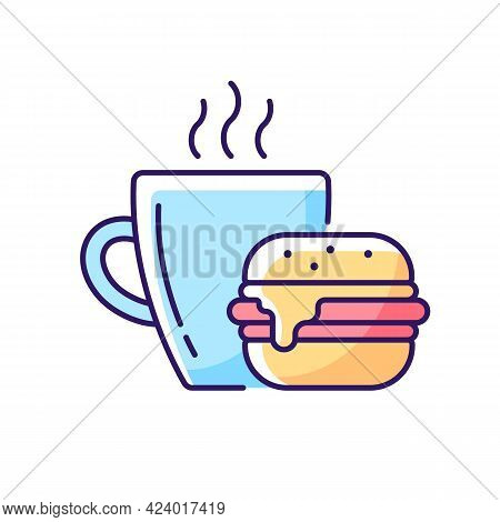 Lunch Rgb Color Icon. Burger And Drink In Cup. Coffee Mug With Sandwich For Dinner. Dining At Cafe.
