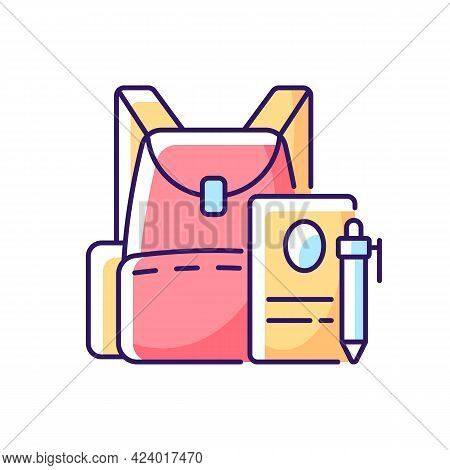 Backpack Rgb Color Icon. Preparing For School Classes. Schoolbag With Notebook For Student. Rucksack