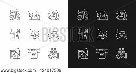 Trendy Arts Linear Icons Set For Dark And Light Mode. Handmade Toys. Candle Making. Diy Tropical Ter
