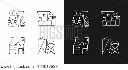 Trendy Crafts Linear Icons Set For Dark And Light Mode. Amigurumi Bunny. Candle Making. Repurposed W