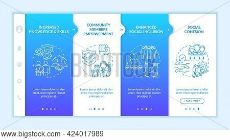 Social Unit Development Advantages Onboarding Vector Template. Responsive Mobile Website With Icons.