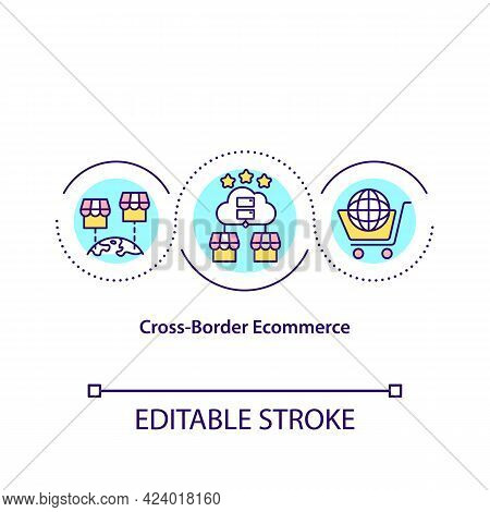 Cross Border Ecommerce Concept Icon. Wordwide Marketplace. Creating Online Business. Remote Selling