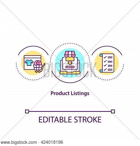 Product Listings Concept Icon. Placing Goods On Online Marketplace. Selling Items Online. Remote Bus