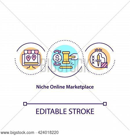 Niche Online Marketplace Concept Icon. Creating Marketplace For Selling Items Remotely. Online Shops