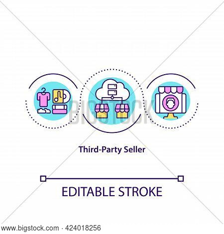 Third Party Seller Concept Icon. Reselling Product Online. Remote Business Strategy. Marketplace Abs