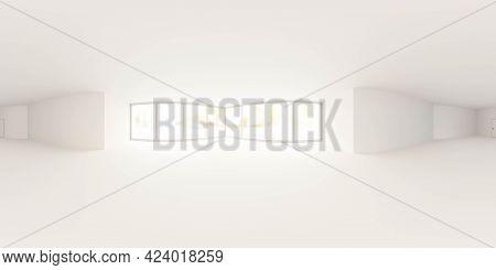 Spherical 360 Degree Full Panorama White Studio With Bright Day Lighting 3d Render Illustration Hdri