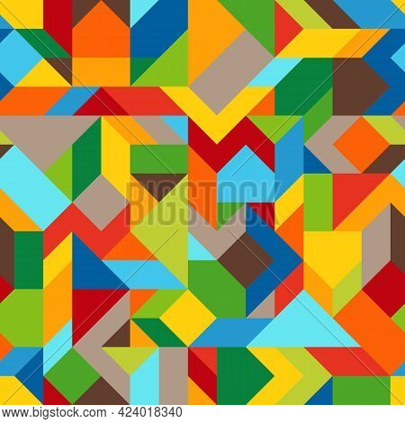 Abstract Geometric Asymmetric Colorful Seamless Pattern Of Angular Shapes. Continuous Background Fro