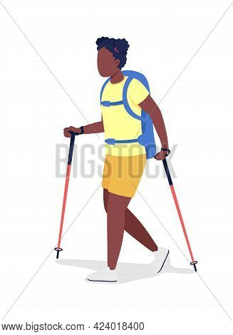 Girl With Backpack Hiking Semi Flat Color Vector Character. Trekker Figure. Full Body Person On Whit