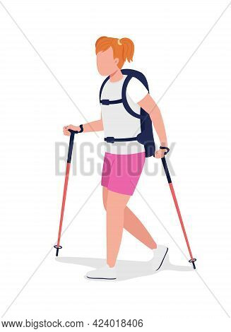 Girl On Hiking Trip Semi Flat Color Vector Character. Trekker Figure. Full Body Person On White. Out