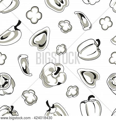Bell Pepper, Sweet Pepper, Capsicum, Whole And Cut Into Slices And Rings. Simple Doodle Style Black